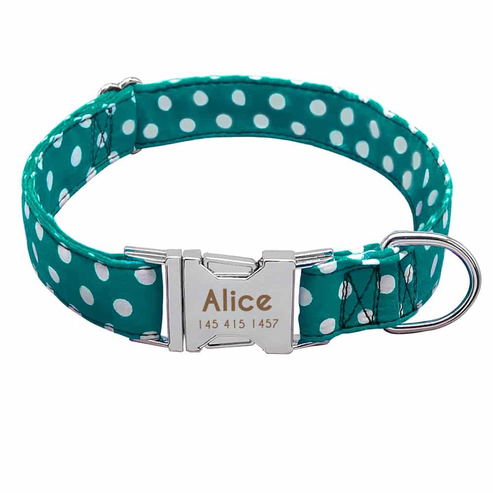 2915873dbdfe705cf122cc140145f501 - Halsband hond met naam en telefoonnummernylon3 kleuren