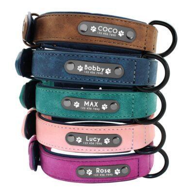 hondenhalsband met naam en telefoonnummer in 5 kleuren gevoerd leer