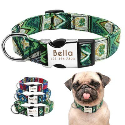 Halsband hond met naam en telefoonnummer nylon ruige patronen