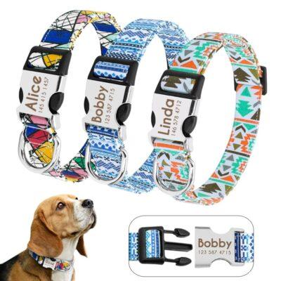 Halsband hond met naam en telefoonnummer nylon vrolijke motieven