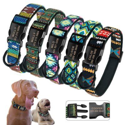 Halsband hond met naam en telefoonnummer volledig adres zwarte klikgesp