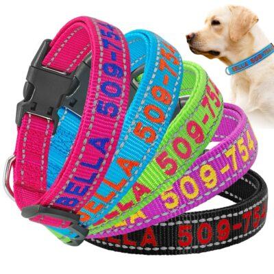 Halsband hond met naam en telefoonnummer geborduurd reflecterend