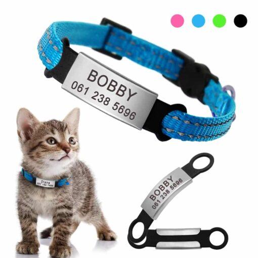 Halsband kat met naam en telefoonnummer nylon 4 kleuren reflecterend Quick Release