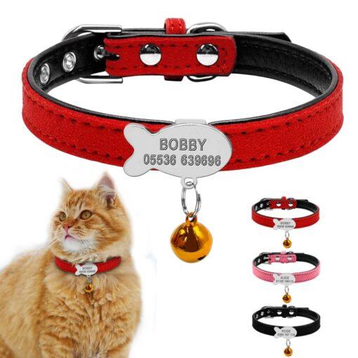 Halsband kat met naam en telefoonnummer gevoerd leer 3 kleuren