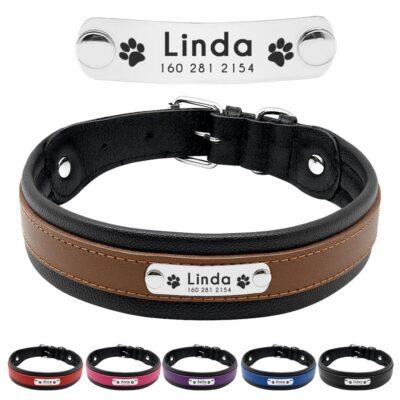 3290 argq4s 400x400 - Halsband hond met naam en telefoonnummer van leer
