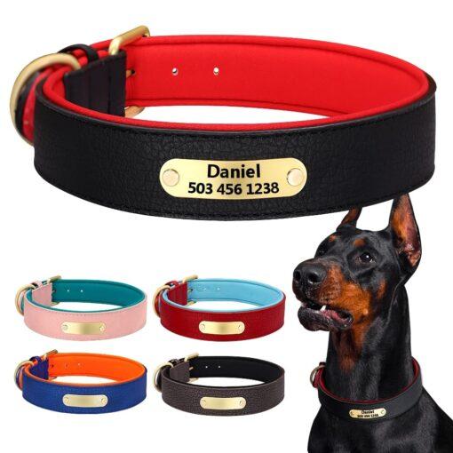 Halsband hond met naam en telefoonnummer leer gewatteerd robuust