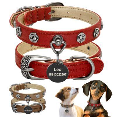 34594 gwkylp 400x400 - Halsband hond met naam en telefoonnummer van leer