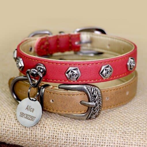 Halsband hond leer versiert voor kleine en middelgrote honden