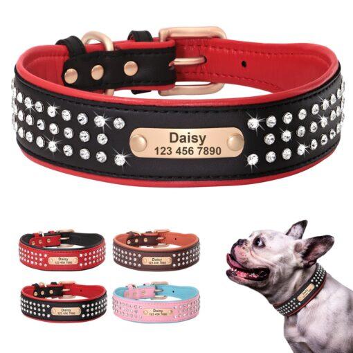 Halsband hond met naam en telefoonnummer leer gevoerd met steentjes