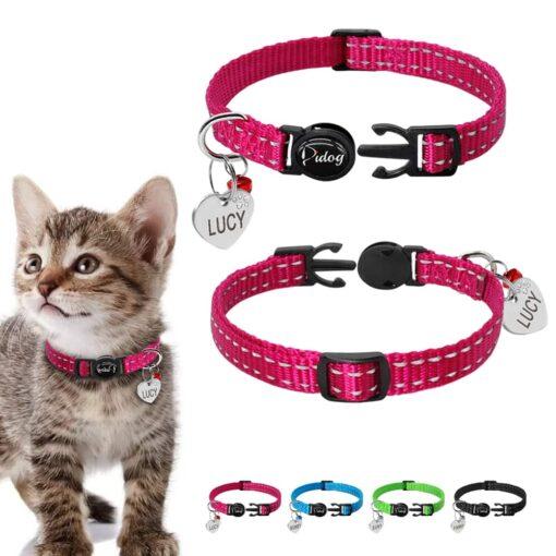Halsband kat met naam en telefoonnummer nylon 4 kleuren Quick Release