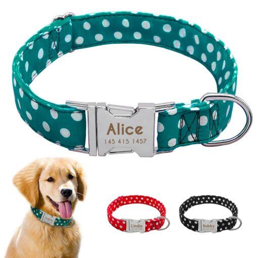 Halsband hond met naam en telefoonnummernylon3 kleuren
