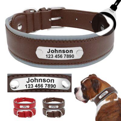 Halsband hond met naam en telefoonnummer leer reflecterend