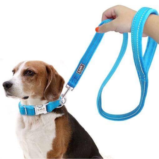 Halsband hond met naam en telefoonnummer nylonmet riem