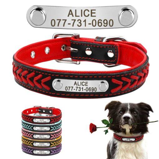 Halsband hond met naam en telefoonnummer leer gevlochten