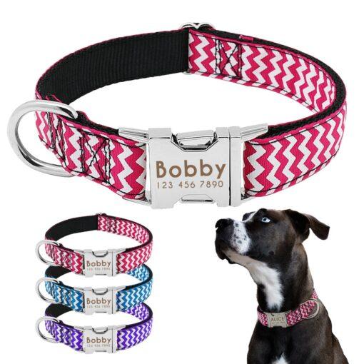Halsband hond met naam en telefoonnummer zigzag motief