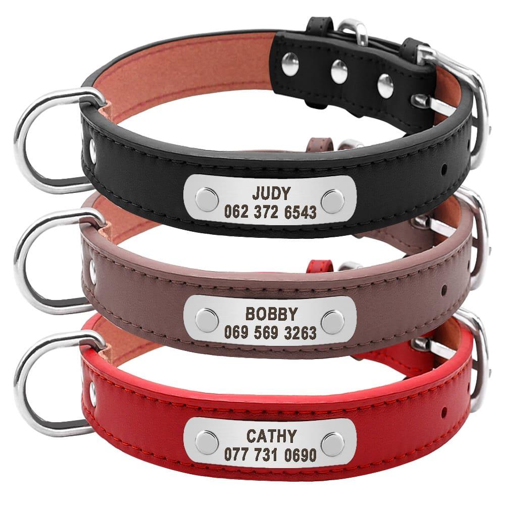 85b357739026af854d6d532c7bef1a5d - Halsband hond met naam en telefoonnummer 3 kleuren leer