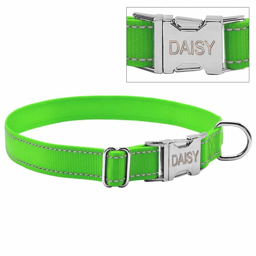 ced5f18affa51b74d167b264a35c3664 - Halsband hond met naam en telefoonnummer nylon reflecterend
