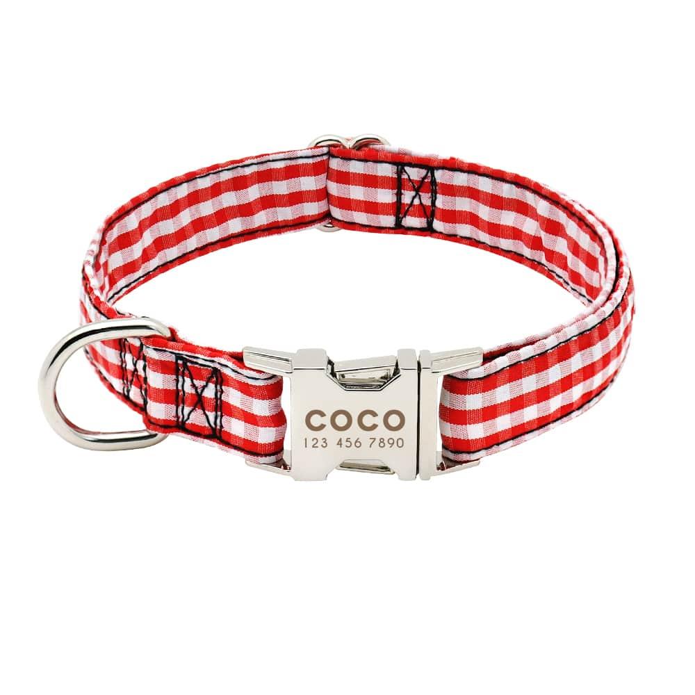 e60ba356a3f1d28dddf2f90c75015217 - Halsband hond met naam en telefoonnummer nylon gestreept