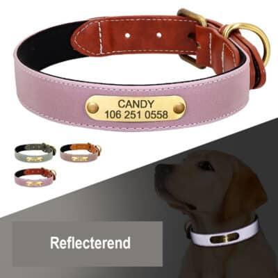 reflecteren 1 400x400 - Halsband hond met naam en telefoonnummer van leer